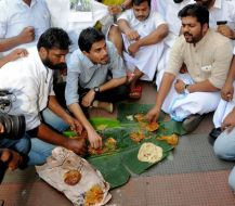 Kochi: Youth Congress organised Beef Festivals in front of Ernakulam BJP office in Kochi on Saturday. PTI Photo(PTI5_27_2017_000110B)