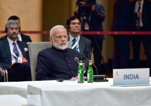 The Prime Minister, Shri Narendra Modi at the informal meeting of leaders of the BRICS countries, on the sidelines of the 12th G-20 Summit, at Hamburg, Germany on July 07, 2017.