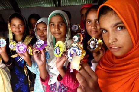 "Marora : Muslim Girls of Marora (Popular as Trump village) showing thier ""Trump Rakhi "" ahead of Raksha Bandhan Festival in the hounor of US President Donald Trump, at Nuh Dist Mewat Haryana on Saturday. The girls are making 1000 Special Trump Rakhi for US President which would be sent to him. PTI Photo (PTI8_5_2017_000119B)"